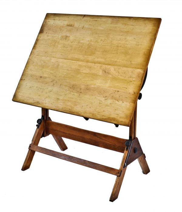 c 1940 s fully functional american industrial oversized four legged varnished oak wood drafting table with refinished original pine wood drawing