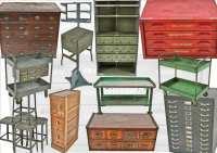 vast assortment of vintage american industrial furniture ...