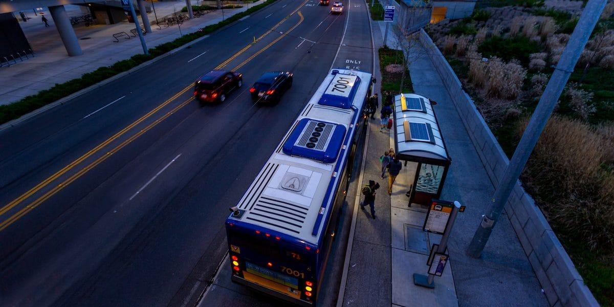 Urban solar bus stops solar lighting in Seattle