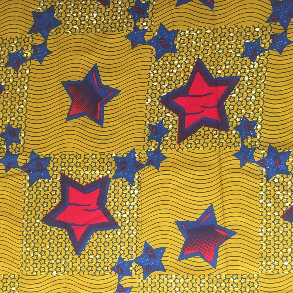 Olive Green and Red Star African Fabric By the Yard