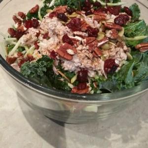 inset rainbow kale salad with tuna