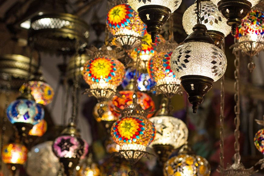 Lanterns for sale in an Istanbul bazaar
