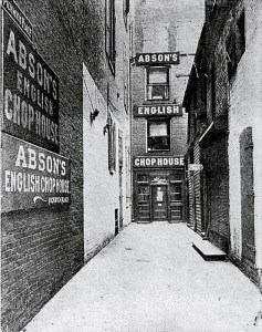 Abson's English Chophouse once stood in Pickwick Place