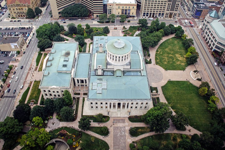 Ohio State House view from Rhodes Tower