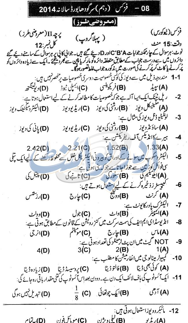 BISE Sargodha Physics, Objective Part Paper Annual Part-II