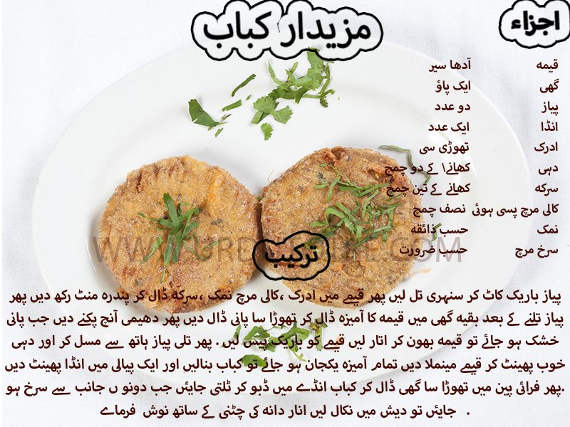 mazedar kabab recipe in urdu