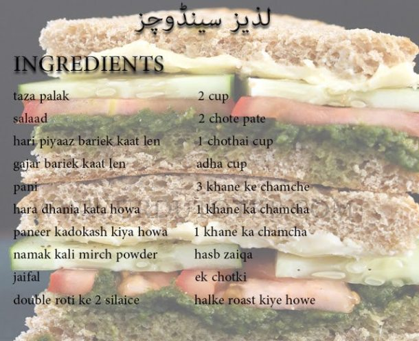 sandwich recipes in urdu - pakistani sandwich recipes