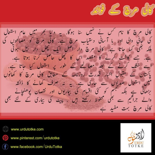 kali mirch fayde in urdu