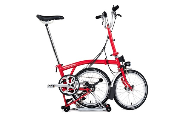 Brompton--2016-M6R-Red-Parked