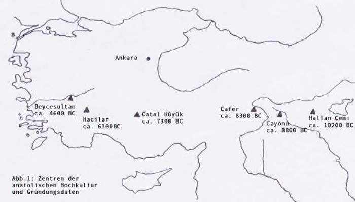 Landkarte von den Zentren der anatolischen Hochkultur mit ihren Gründungsdaten