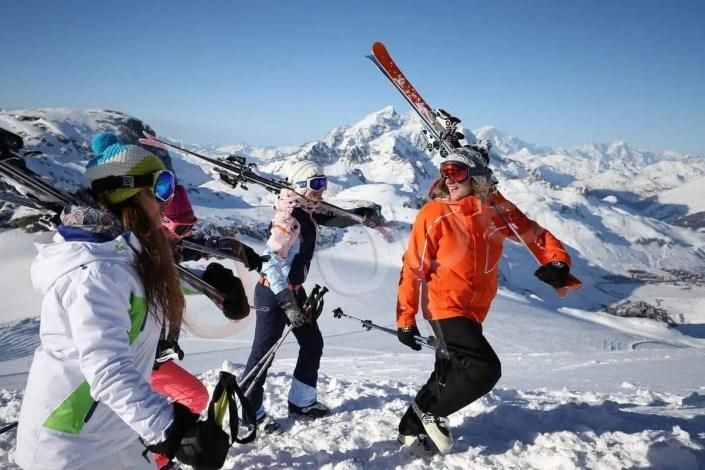 Photo d'un groupe en haut de Tignes en hiver