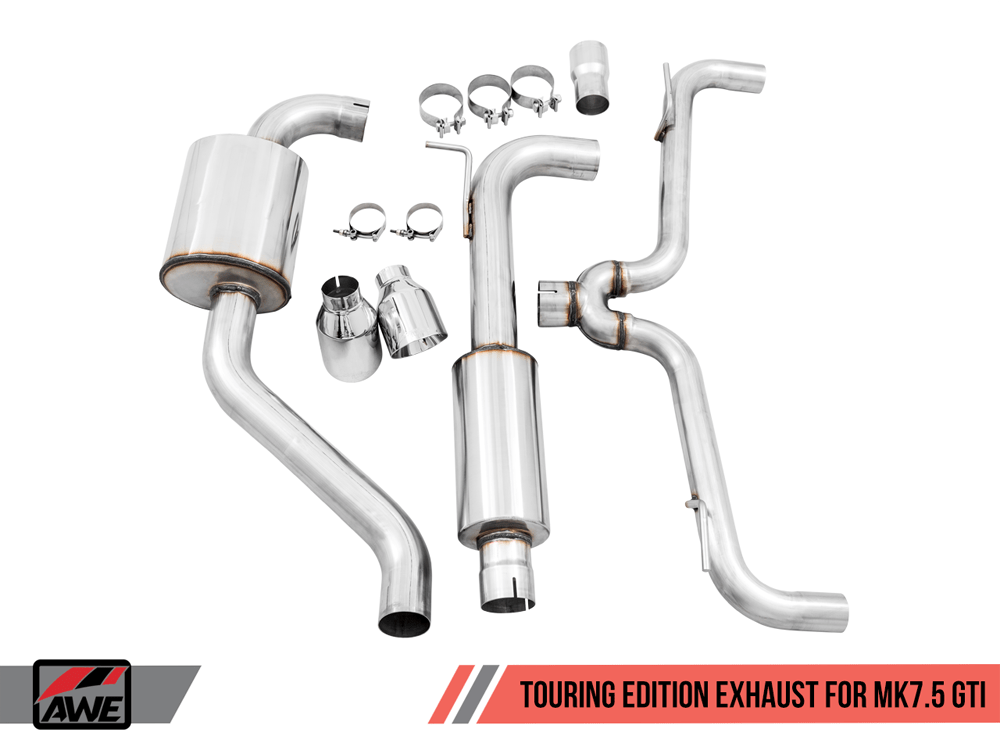 awe tuning exhaust system mk7 5 gti touring edition chrome silver