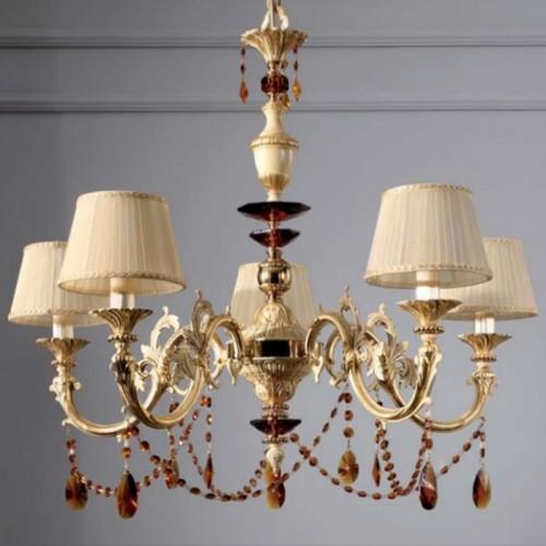lampadario classico 5 luci in ottone con finiture avorio e