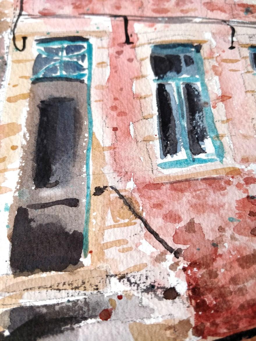 Façade d'une maison à l'aquarelle, détail