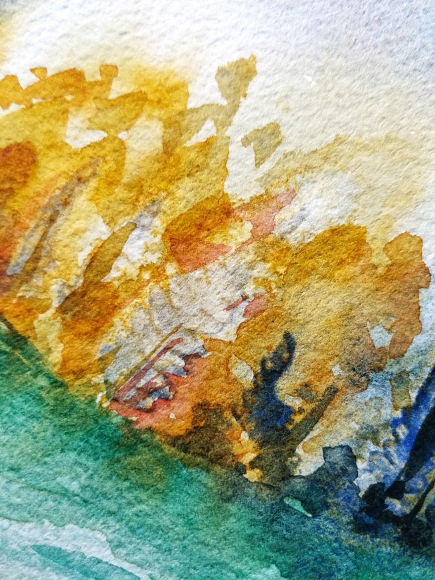 Paysage d'automne à l'aquarelle, détail