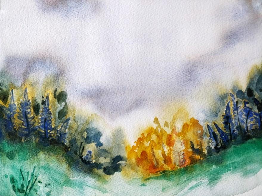 Paysage d'automne à l'aquarelle