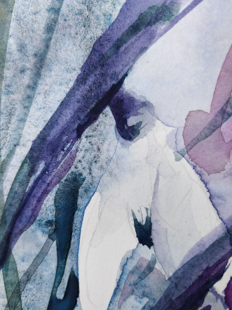watercolor snowdrops, detail