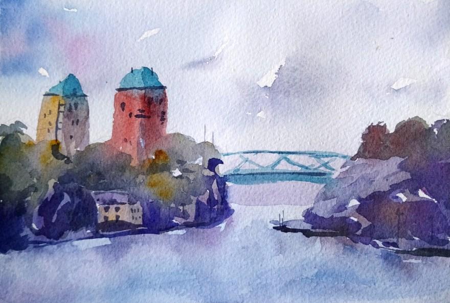 pont à l'aquarelle