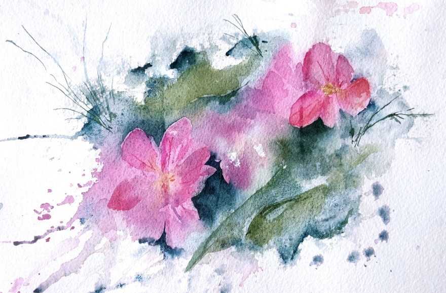 Primroses in watercolor