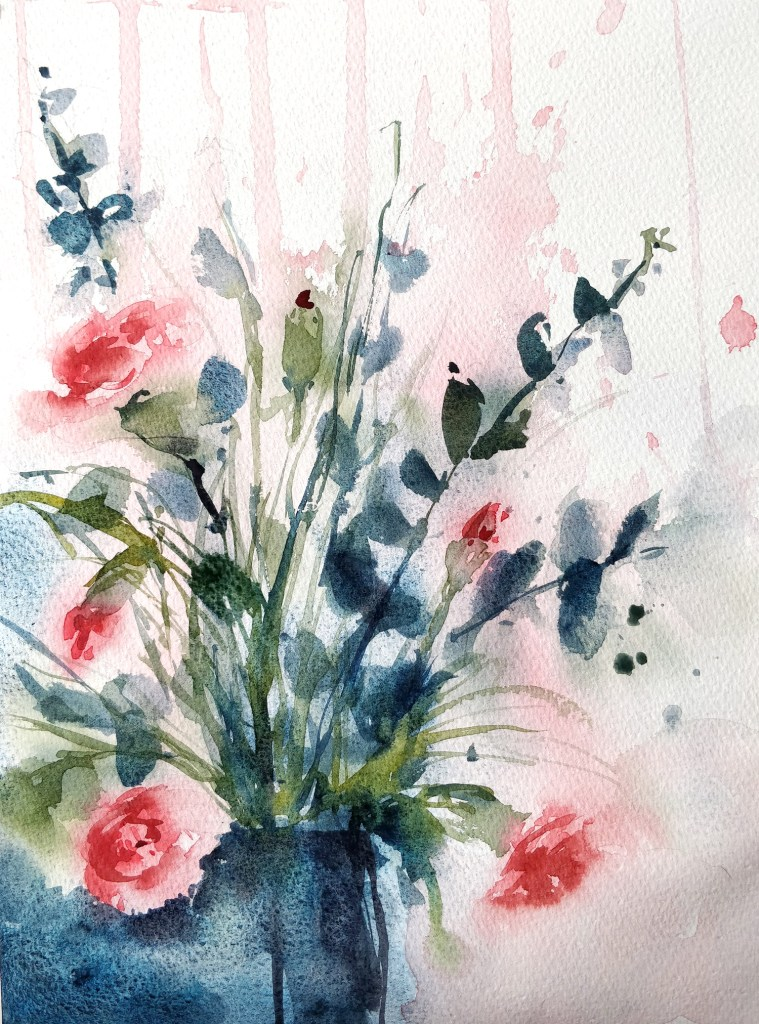 Bouquet d'oeillets à l'aquarelle