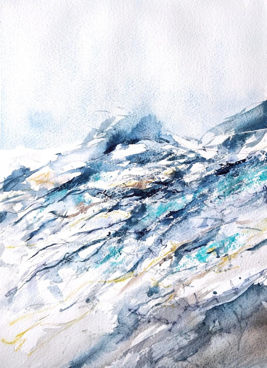 Abstrait bleu à l'aquarelle