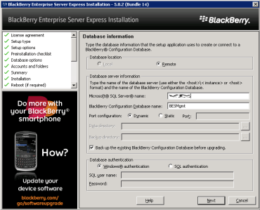 8j-install-bes-express-specify-database