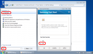 Disable Samsung Fast Start to Enable Greyed Out Windows Power Options