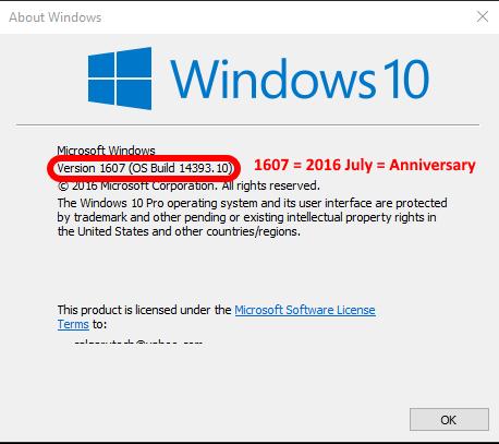 check-windows-build-winver-windows-10-anniversary - Up & Running Technologies Calgary