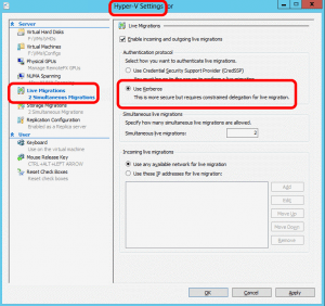 scvmm-agent-installation-appropriate-permissions-hyperv-settings-kerberos-credssp
