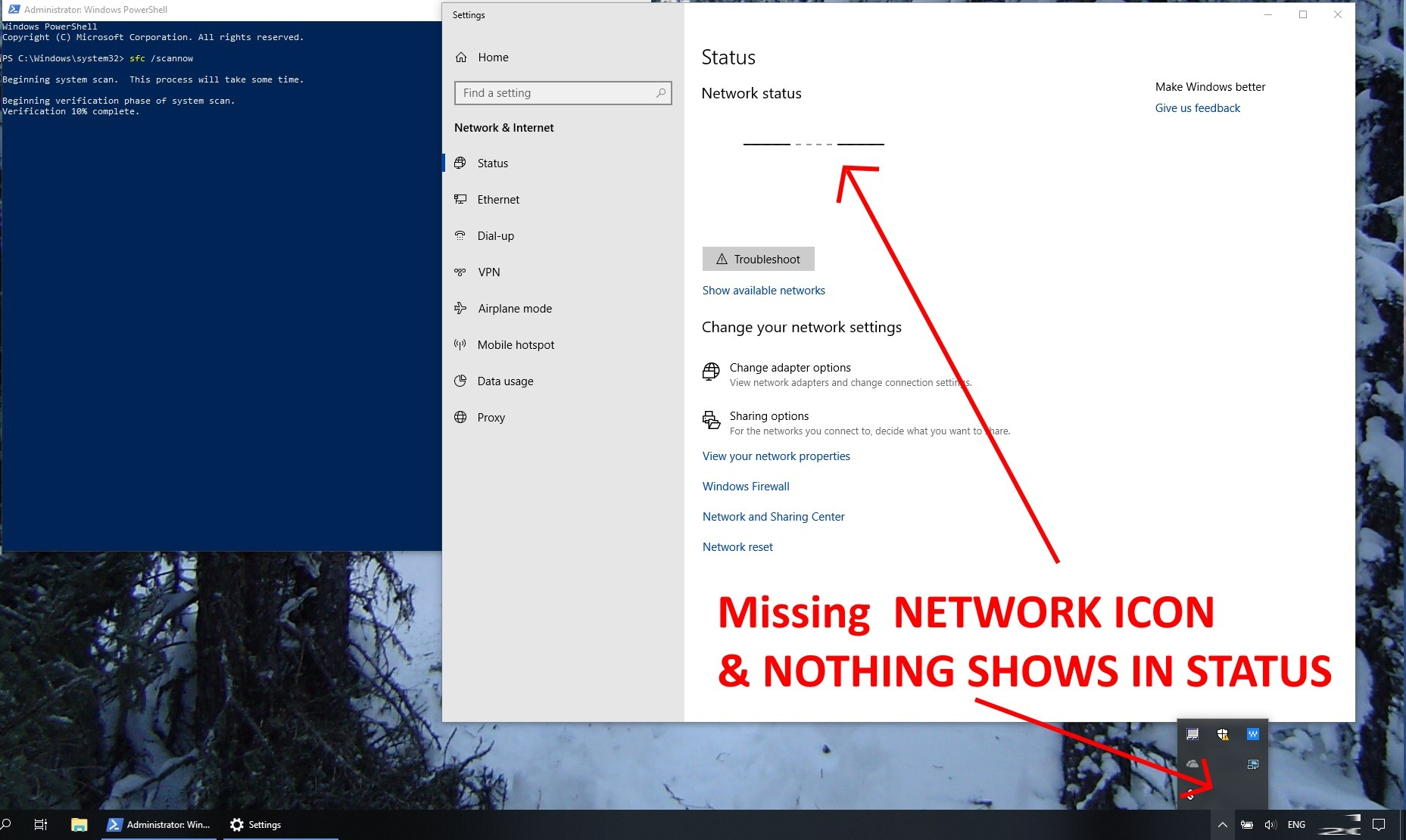 Network Icon Missing From System Tray Notification Area & Greyed Out