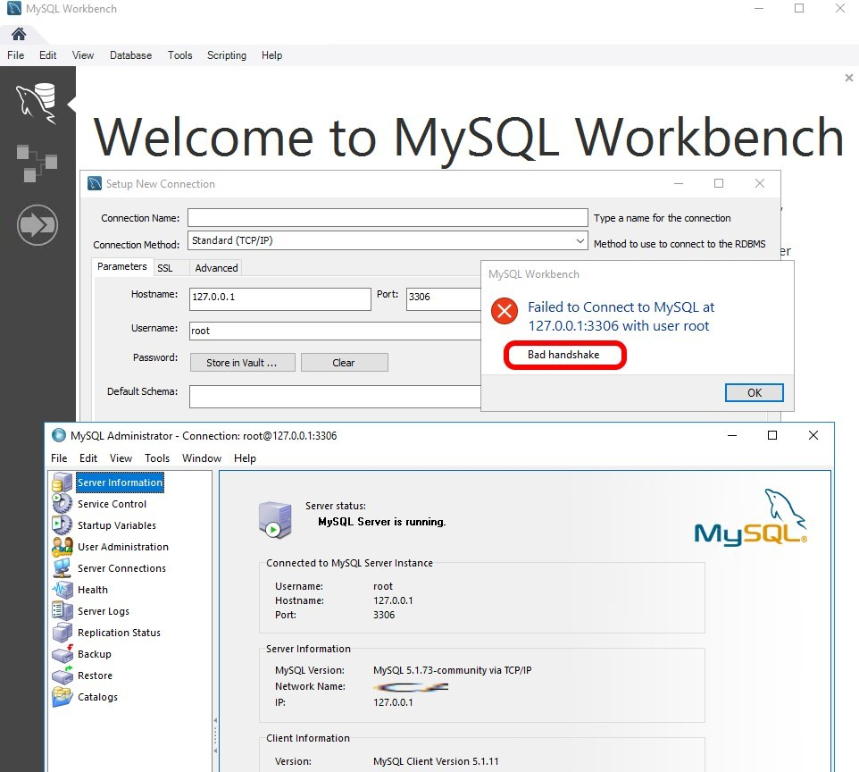 SOLVED: Bad Handshake – MySQL Workbench Failed To Connect To SQL