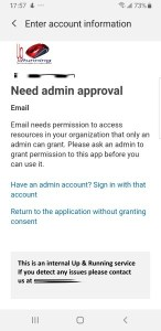 cell email setup need admin approval email needs persmission to access resources in your organization that only an admin can grant