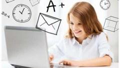 girl laptop child schoolgrades