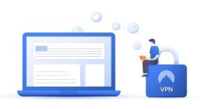 VPN lock laptop man blue