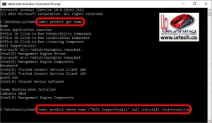 command line to uninstall exe without confirmation wmic