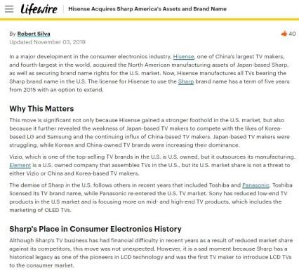 Hisense Buys Sharp Brand