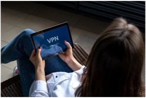 woman vpn tablet