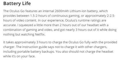 Oculus Go Battery Life