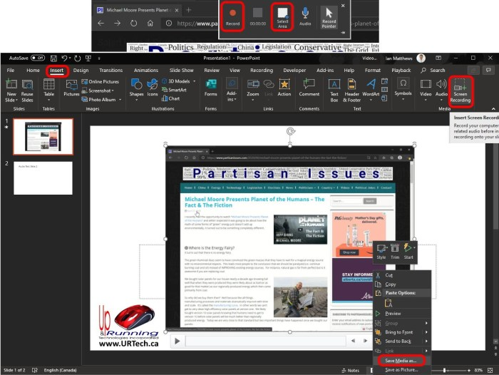 How To Use PowerPoint To Record the Screen and Create an MP4 Video File