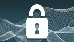padlock with green grey digtial wave background
