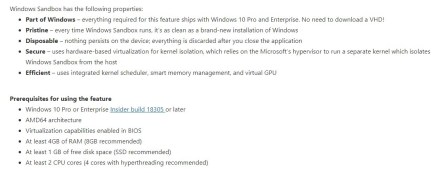 Windows Sandbox requirements and features