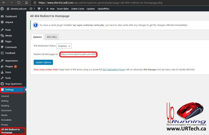 configure 404 redirect wordpress plugin