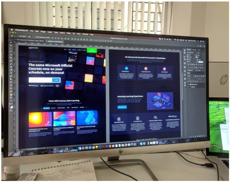 photoshop on widescreen monitor