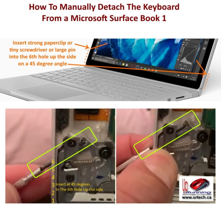Surface book 1 manual keyboard release explained