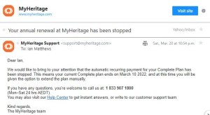 myheritage free trial ended