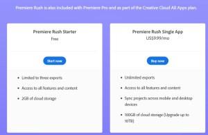 adobe premier rush starter vs fee free