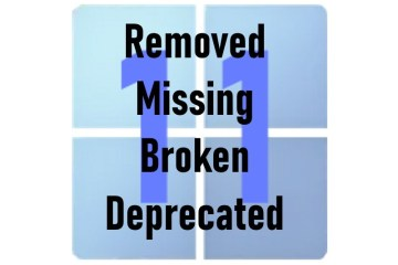 Windows 11 deprecated broken missing