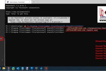 change microsoft 365 office apps channels in Windows 11 using Windows Terminal
