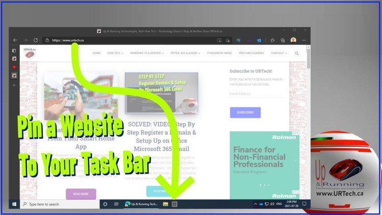 pin a web page to your taskbar