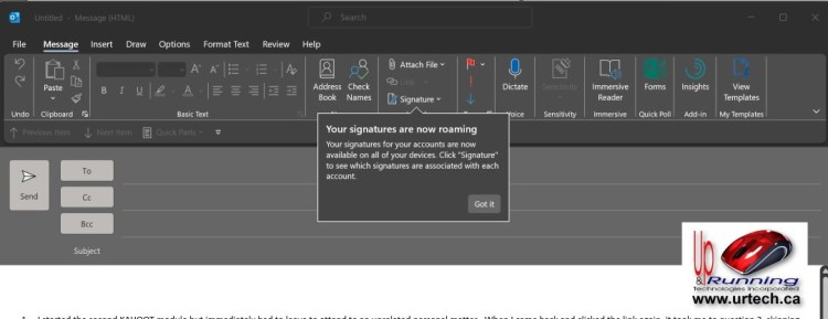 Outlook - SIGNATURES ARE NOW ROAMING